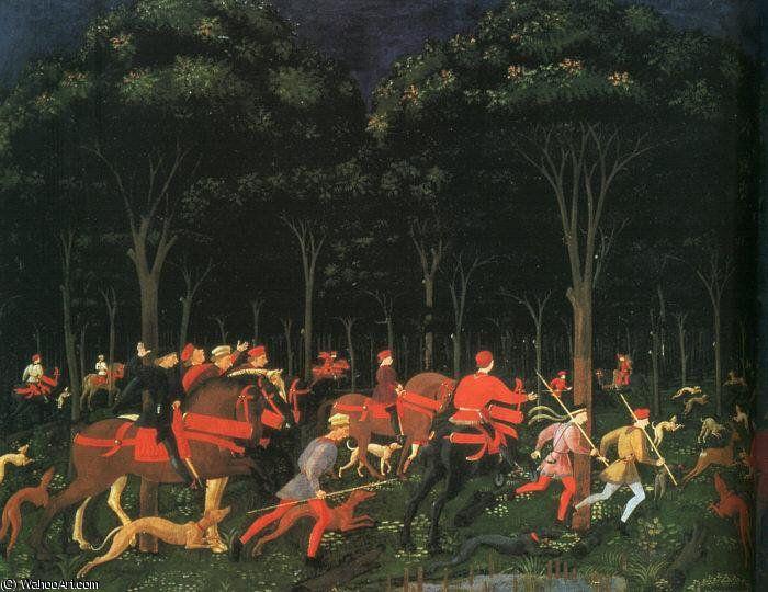 'le chasse dans le forêt (gauche),1468, `ashmolean` musée' de Paolo Uccello (1397-1475, Italy)