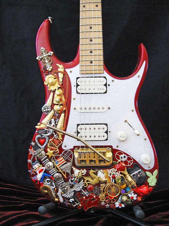 Jeweled Red Ibanez Electric Guitar  Guitar Art by ArtCreationsByCJ