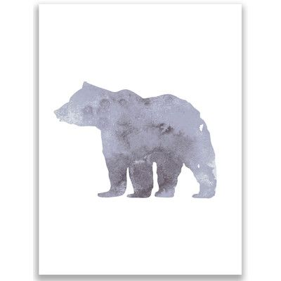 Jetty Home Gray Watercolor Bear Painting Print
