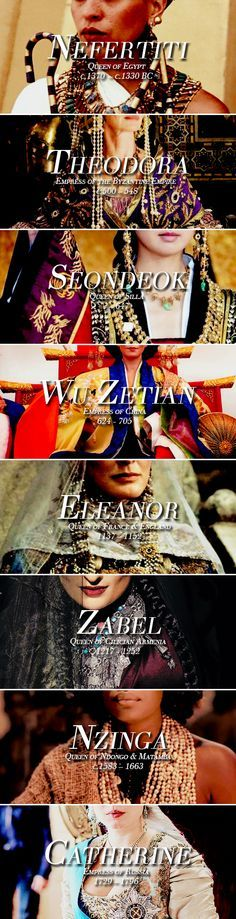 Queens Throughout History: Part I: Nefertiti/Theodora/Wu Zetian/Eleanor/Zabel/Seondeok/Nzinga/Catherine/