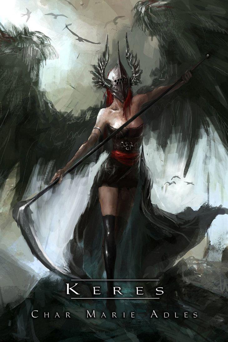 Keres by Nephan on DeviantArt. Espíritus femeninos de la muerte. En singular Ker, diosa de la muerte violenta. Mitología griega.