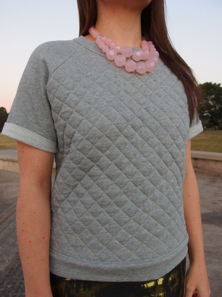 Capital Chic quilted White Russian in a grey towelling knit.