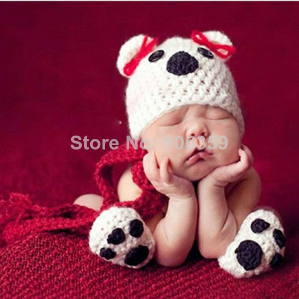 Newborn baby crochet knit puppy dog costume set photo photography prop infant animal beanie hat