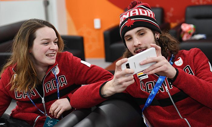Speed-skating selfie! Bronze medalist Kim Boutin, who nabbed a podium spot for the 1500-metre speed skate, hung out with fellow speed skater and rookie Samuel Girard, who took the gold for the 1000-metre. Photo: © Getty Images