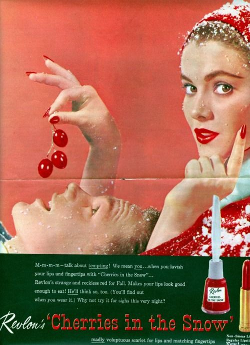 """1950's Nail Polish ad """"Cherries in the Snow"""""""