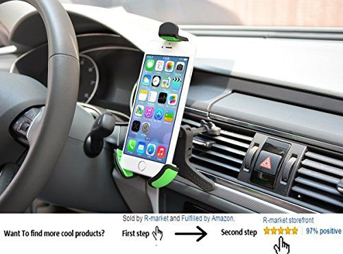 JR New Universal Car Mount Holder Smartphone Car Holder for Iphone 6/Iphone 6plus Samsung S7 360 Degree Rotation (Air Vent)