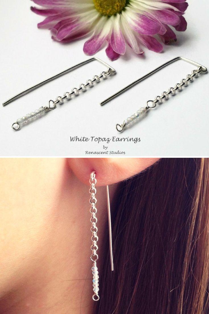 Stunning White Topaz dangle threader earrings. November birthstone, threader earrings. #renascentstudios
