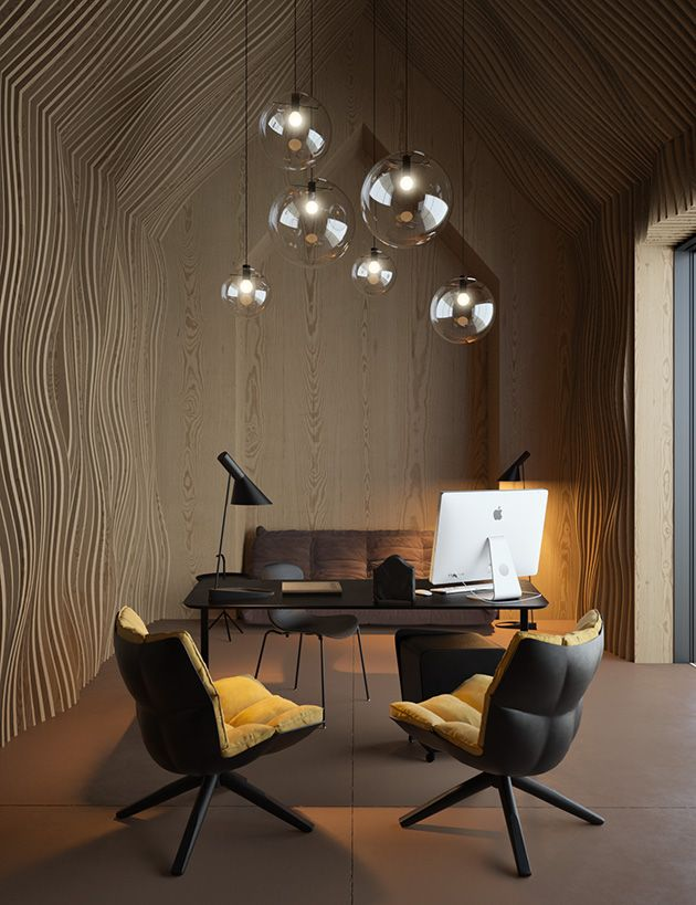 Interior Design Attic Office Concept with Husk chairs from #Bebitalia and a Nap chair from #FritzHansen