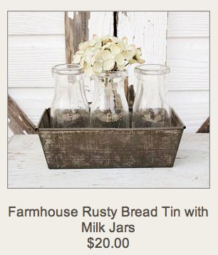 Bread tin and old milk bottles.