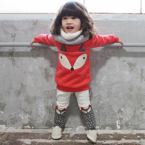 Korean-Style-Toddlers-Kids-Boys-Girls-Fox-Pattern-Thicken-Coat-Pant-Suit-Set