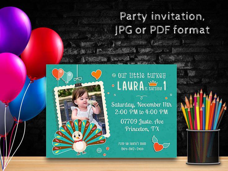 Birthday Invitations, First Birthday Invitation, Thanksgiving Birthday Invitation, First Thanksgiving, Birthday thanksgiving by PrintablesForEvents on Etsy