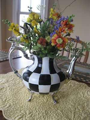 Arrangement in a Silver painted Checked Tea Pot- - MacKenzie-Childs Inspired