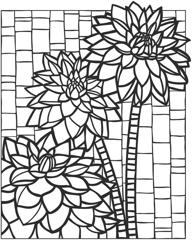 welcome to dover publications creative haven floral mosaics coloring book - Mosaic Coloring Pages