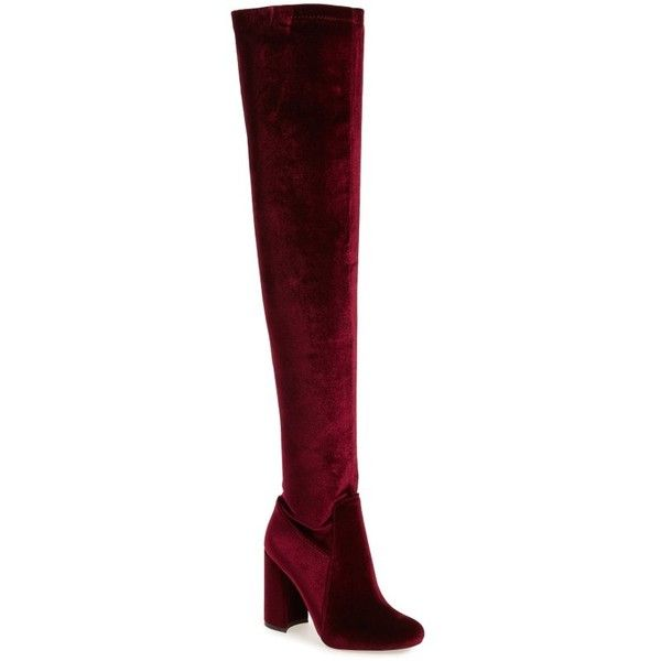 Women's Jeffrey Campbell Perouze 2 Thigh High Stretch Boot ($220) ❤ liked on Polyvore featuring shoes, boots, wine velvet, stretch boots, stretch over the knee boots, velvet boots, thigh high velvet boots and light weight boots