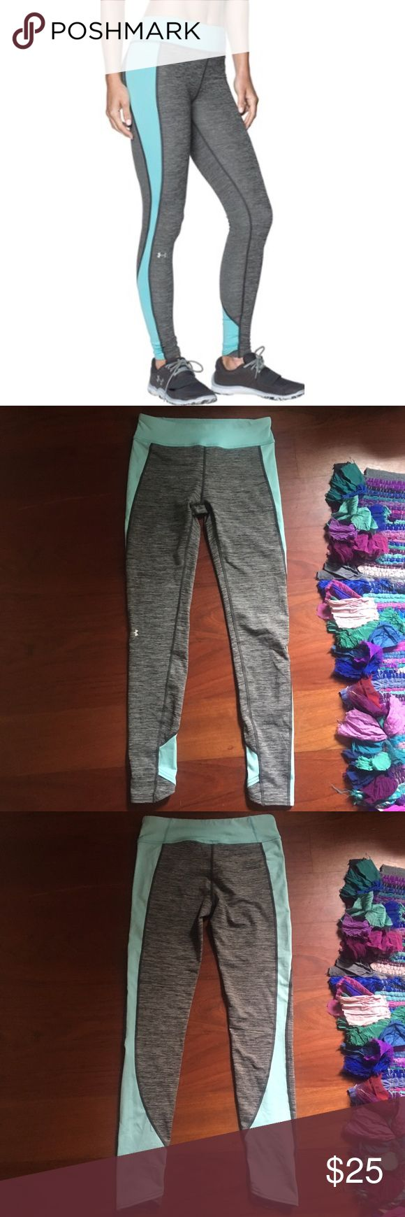 Under armour grey and teal leggings Under armour grey and teal leggings            Size small worn once are unfortunately too small for me! Under Armour Pants Leggings