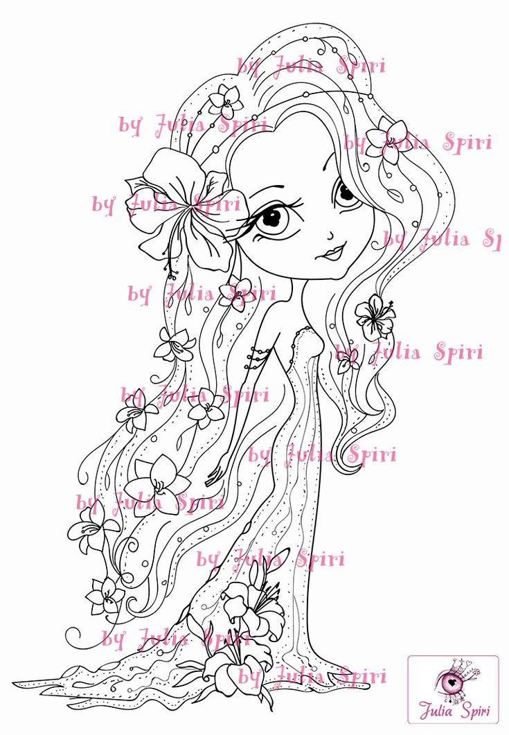 Digital Stamps Digi stamp Coloring pages Girl stamp by JuliaSpiri