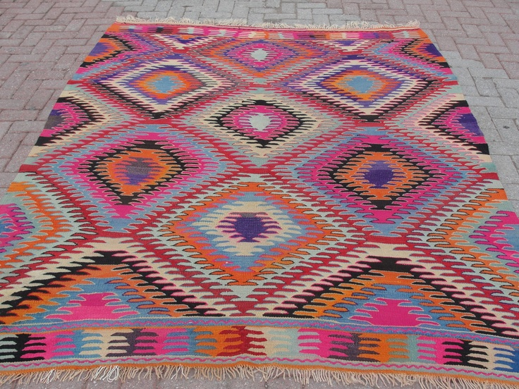 Turkish Special Afion Fingers Handwoven Traditional Kilim Rug Carpet