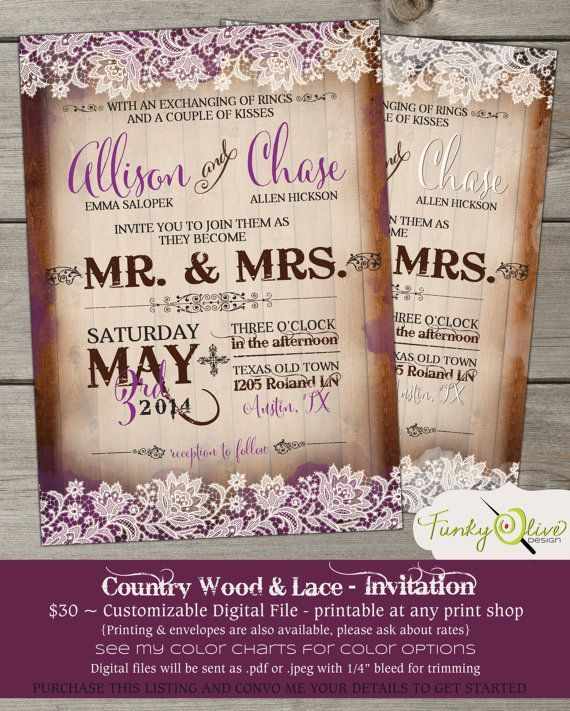 Country Wood Amp Lace Wedding Invitation Bold Rustic