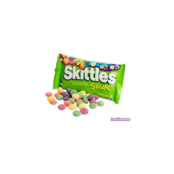 Sour Skittles Candy 1.8-Ounce Packs 24-Piece Box (18 ARS) ❤ liked on Polyvore featuring food, food and drink and sweets