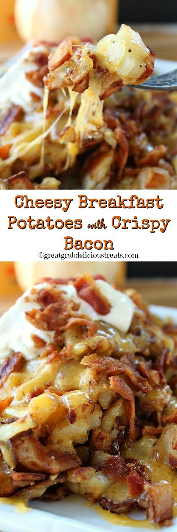 Cheesy Breakfast Potatoes with Crispy Bacon - These potatoes are loaded with cheese and one of the most amazing foods, apple wood bacon. Great comfort food!