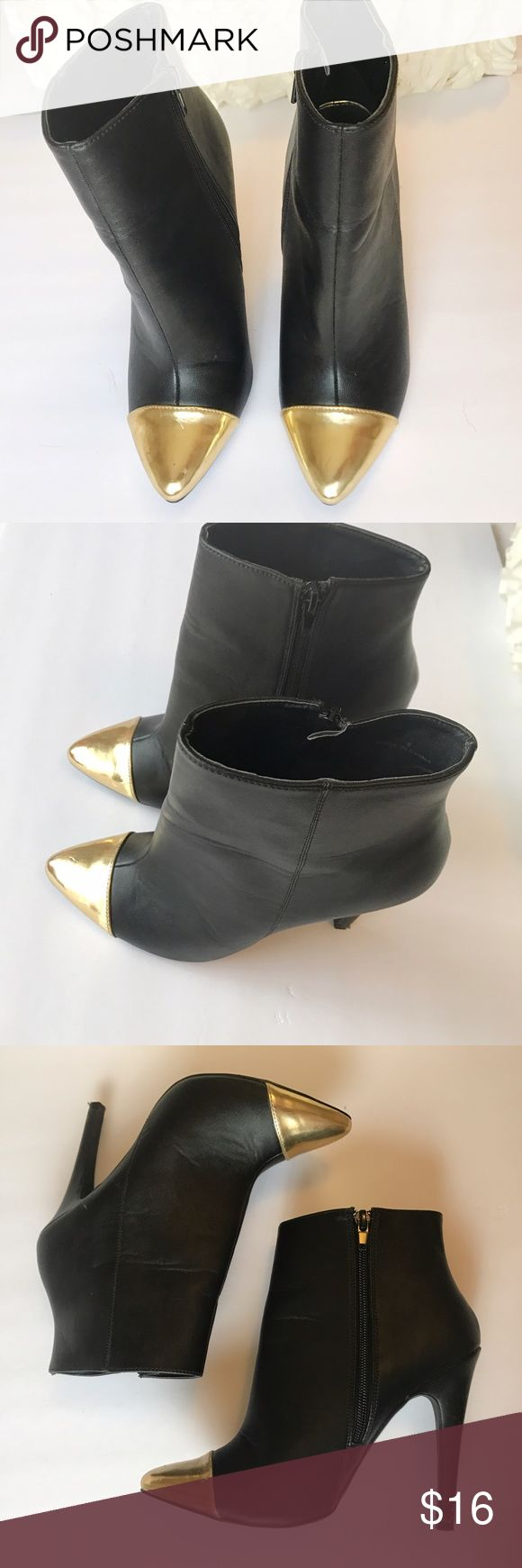 ASOS gold cap toe booties Gorgeous ASOS gold cap toe ankle booties. Worn a couple of times. The gold has some scratches. Perfect with jeans or even dresses and tights. The perfect color combination ASOS Shoes Ankle Boots & Booties