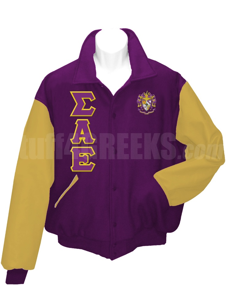 purple sigma alpha epsilon letterman varsity jacket with old gold sleeves the greek letters down