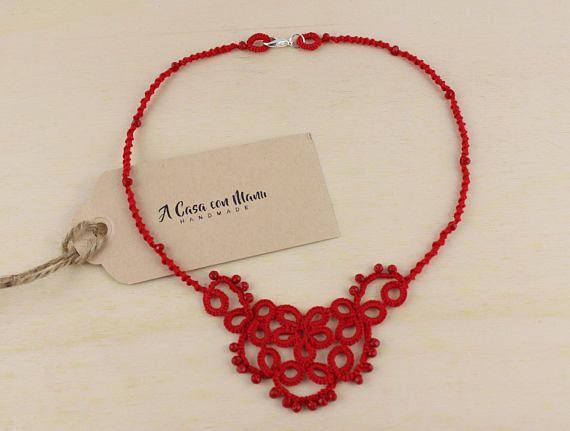 Collana rossa in pizzo chiacchierino idea regalo regalo di