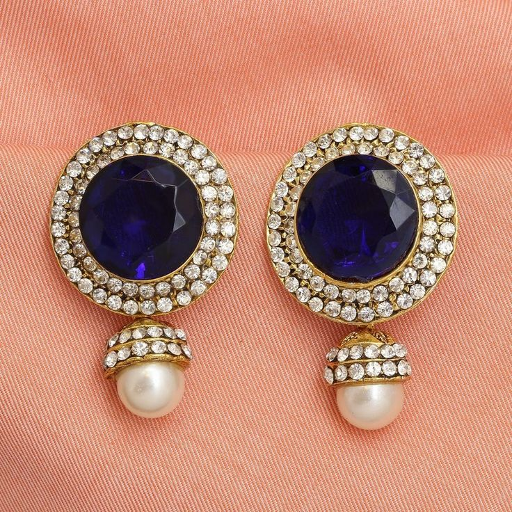 Indian Ethnic Pearl AD/CZ Blue Sapphire Bollywood Earring Bridal Jhumka Jhumki #DesaiJewellers #DropDangle