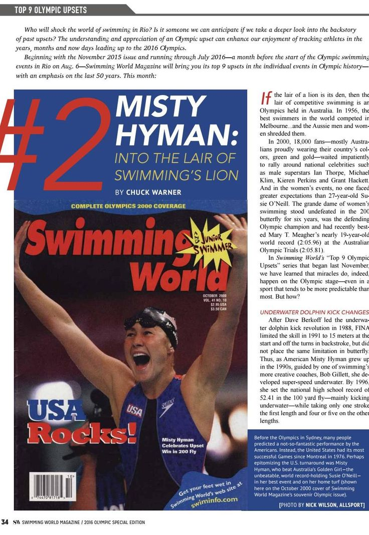 Top Olympic Swimming upsets, Misty Hyman - from the 2016 Rio Olympic Preview - Special Edition by Swimming World Magazine - issuu