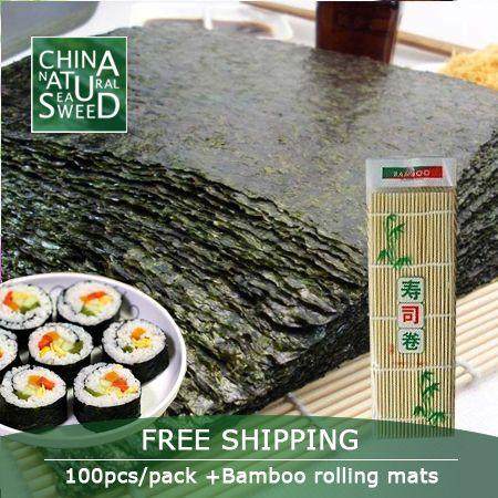 Free Shipping,2017 wholesale high Quality Seaweed,nori for sushi Seaweed nori sushi ,100pcs+Bamboo rolling mats nori tools