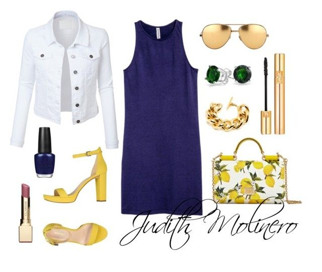 """""""Navy and lemon"""" by judith-molinero-fashion on Polyvore featuring Nine West, H&M, Dolce&Gabbana, LE3NO, Bling Jewelry, Linda Farrow, Yves Saint Laurent, OPI and Clarins"""