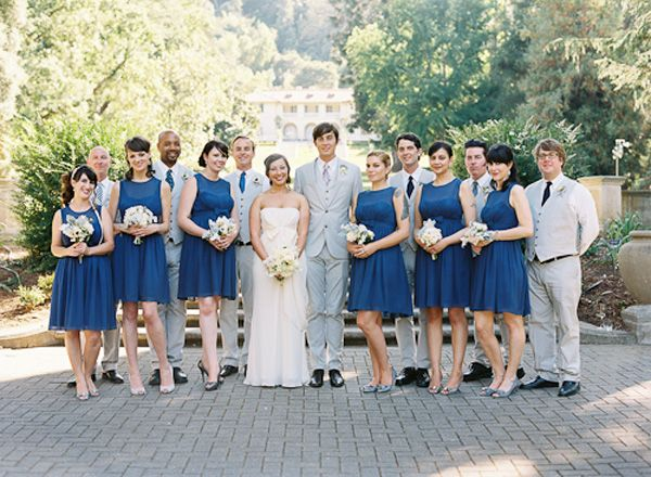 wedding style, setting, bridesmaid, casual, classic, light grey, men's suit, bridesmaid dresses, navy blue, sleeves, tea-length, a-line, strapless, wedding dresses, white, Bridal Party, Summer, cultural, Saratoga, California