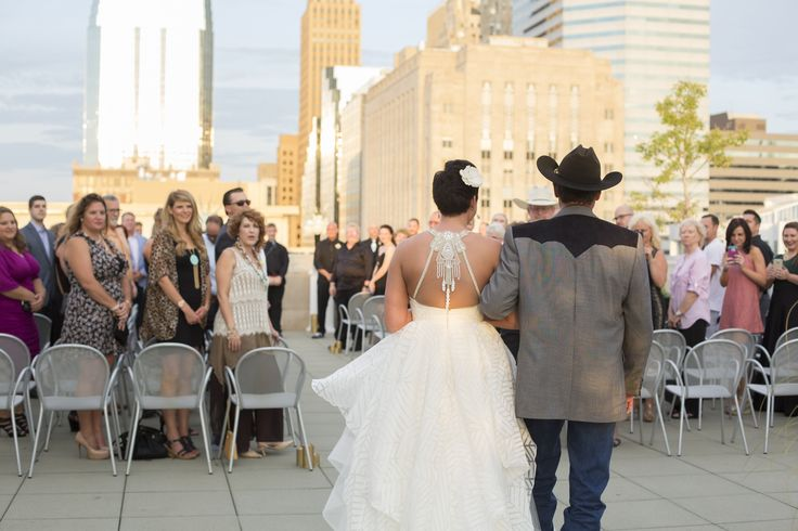 Here comes the bride! Outdoor wedding in downtown OKC | Rooftop Wedding Venue | OKCMOA Roof Terrace | Oklahoma City Museum of Art | Wedding Dress | Outdoor Ceremony | Yellow Hair Photography
