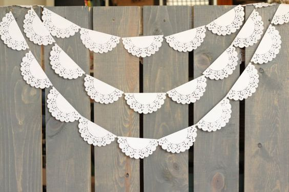 White Lace Scallop Paper Doily Sewn Garland - Wedding Garland, Bridal Shower, Photo Backdrop, Baby Shower, Nursery Decor, Rustic: