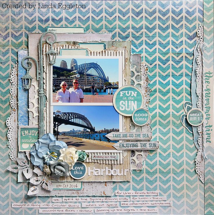 'A Day on the Harbour' by Linda Eggleton Design Team  for Kaisercraft [Sandy Toes Collection] - Wendy Schultz ~ Scrapbook Pages 1.