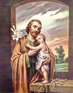 Antiquité. Collection. Art religieux Image de St-Joseph et Jésus