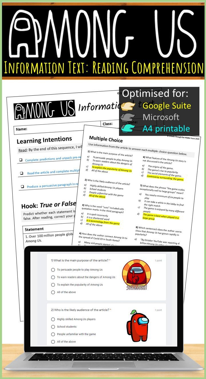 Among Us Reading Comprehension Informational Text Lesson Reading Comprehension Vocabulary Activities [ 1323 x 720 Pixel ]