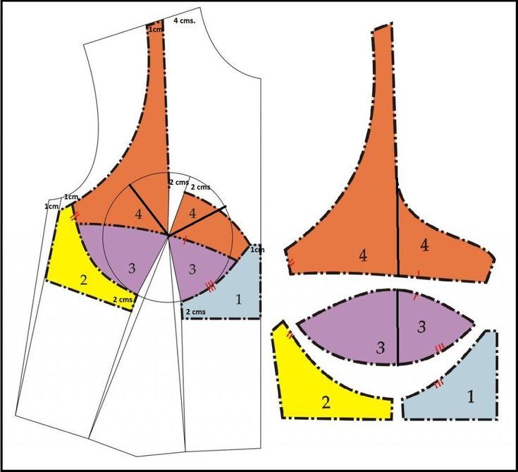 Para hacer el patrón de brasier: Traza el corpiño básico y cierra la pinza de costado. Mide del centro de busto a la línea de bajo-busto que corresponde al radio de la circunferencia de busto. Agre…