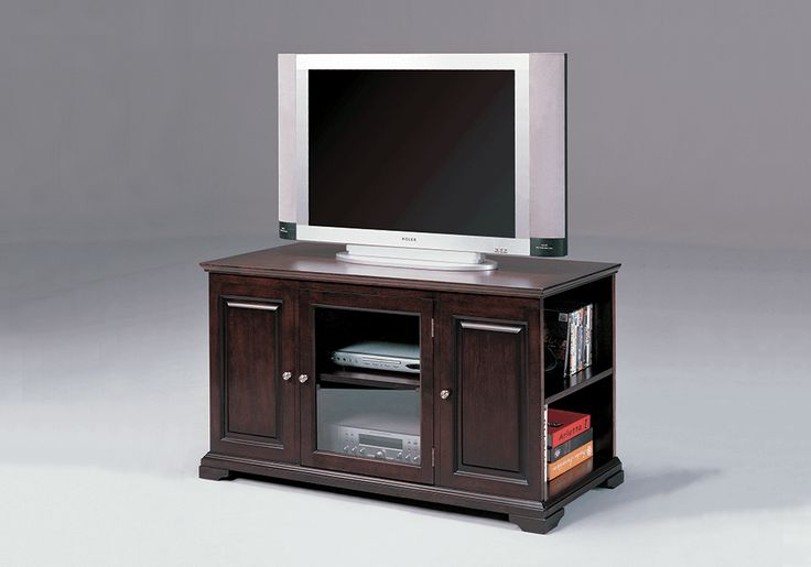<strong>Harris Espresso TV Stand</strong>The Harris Espresso TV Stand is an elegant possesion designed for practicality . This is a contemporary styled accent piece that is sure to enhance your living space. Features bookcase sides, glass front doors that open to access your audio/video components, solid woods and veneers. Two outside open compartments. Wiring access holes located in the back panel.