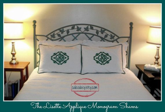 The Lisette Applique Framed Monogrammed King Pillow by calicodaisy, $150.00