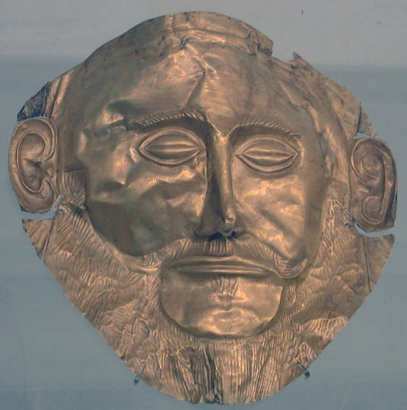 Agamemnon mask at Athens museum. Mr Schliemann found this mask and he claimed that it belonged to Agamemnon, some believe that he did some changes on the mask and that they are not sure due to the lies he told about his findings during excavations.