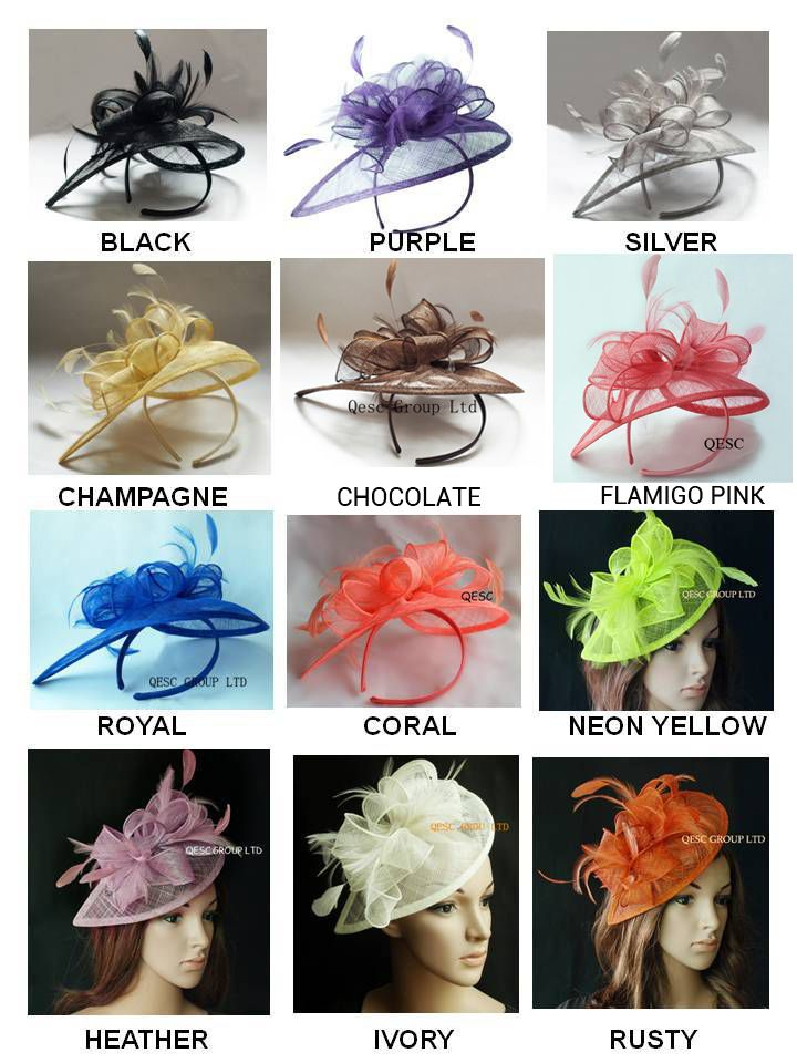 EMS FREE SHIPPING.HOT sinamay  fascinator in SPECIAL shape with feathers, TOP grade workmanship,12 colors available
