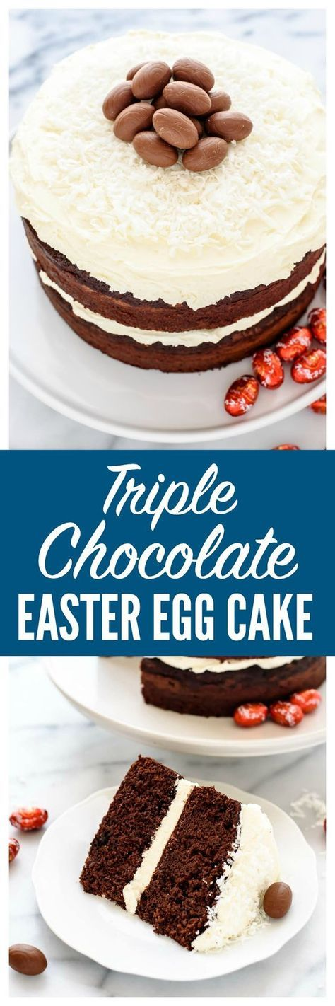 """A """"nest"""" of sweetened coconut and chocolate Easter eggs transform this decadent Triple Chocolate Cake into a stunning Easter dessert that's easy and impressive! 
