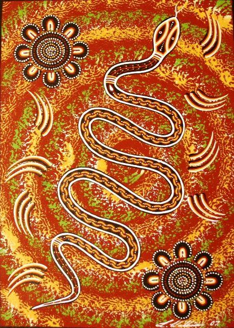 Aboriginal Dreamtime Art: Rainbow Serpent Dreaming by Lorraine Williams