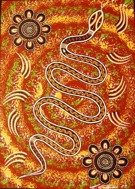 Aboriginal Dreamtime Art: Rainbow Serpent Dreaming by Lorraine Williams