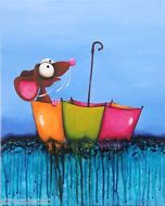 Original acrylic canvas painting whimsical Animal Mouse series Floating umbrella