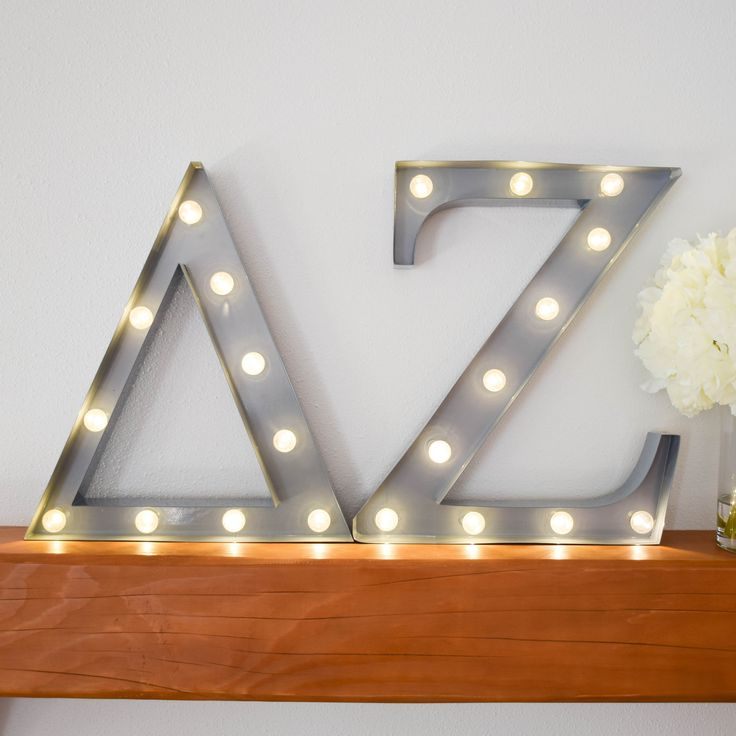 Delta Zeta sorority marquee letter lights - the perfect decoration for every house, dorm or recruitment room! www.alistgreek.com