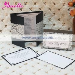 Aea120 Wholesale Back Color Customized Ivory Lace Wedding Invitations