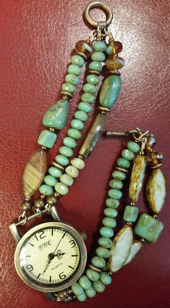 Beautifully beaded three strand turquoise watch by Love2BeadbyCindy
