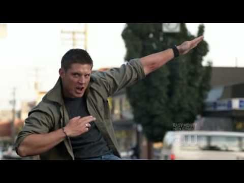 Dean Winchester(Jensen Ackles) from the Supernatural ...he is so hot and I adorable in this outtake :) LOVE IT
